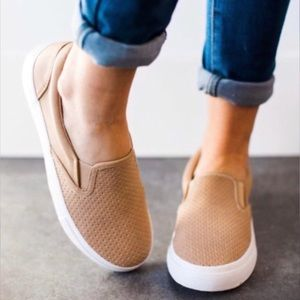 Shoes - Perforated Slip On Sneakers